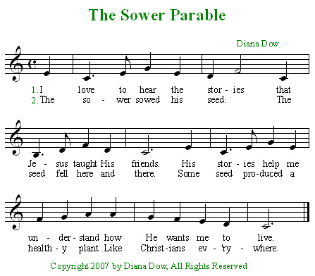 Parables of Jesus -- The Sower by Diana Dow. A song for young children.