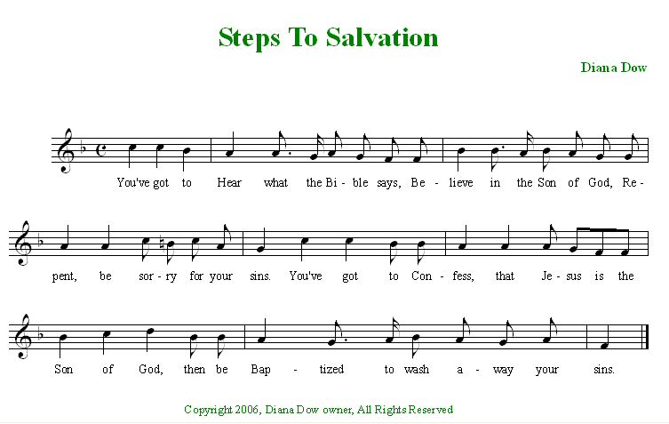 Steps To Salvation by Diana Dow. A song for young children.