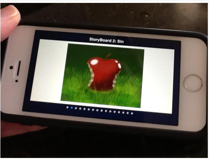 Bible StoryBoards App on an iPhone