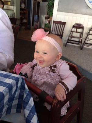 Our youngest granddaughter out for breakfast with the ladies