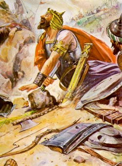 According to the biblical narrator in 1 Sam. 31, Saul took his own life.
