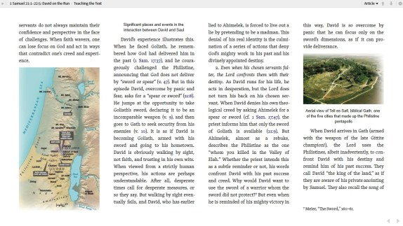 This sample page shows the colorful maps and photos that adorn the pages of the 1&2 Samuel commentary