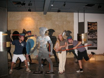 Me and friends at the Ashdod museum mixing it up with some Philistines. The figurines give an idea of Philistine armor, however, Goliath's armor was more extensive.