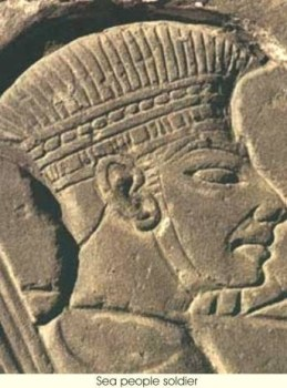 A carving from Medinet Habu in Egypt, showing a Philistine warrior in a helmut. Notice the helmet goes to the bridge of the nose.