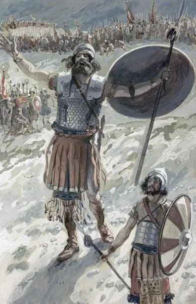 The defiance of Goliath by James Tissot. The story demonstrates that Goliath's death is the result of his defiance of both God and David, God's representative.