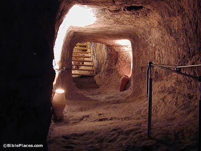The ancient Canaanite tunnel in the City of David leading to Warren's Shaft.
