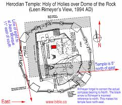 This diagram shows Ritmeyer's understanding of where the walls of the Holy of Holies would have been. The red rectangle marks the depression where the Ark would have set.