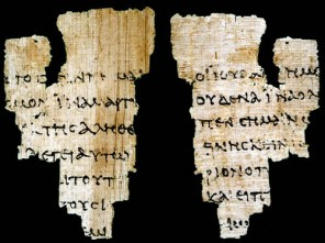 This New Testament manuscript known as P52 is a fragment of John's gospel dating between 120-150 A.D.