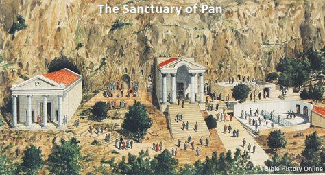 This artistic recreation of the pagan sanctuaries at Caesarea Philippi is on display at the archaeological site.