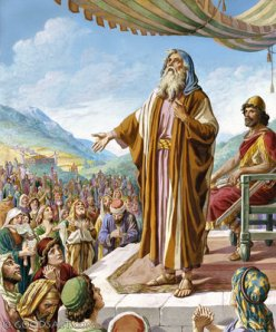 In 1 Samuel 12, Samuel exhorts the king and people to obey God.