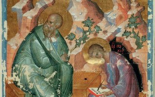 This picture represents the Apostle John dictating a letter to his secretary Prochorus. Note that the customary position for writing was to use one's lap for writing (not a desk).