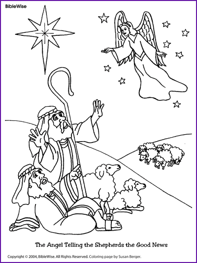 Coloring (Angel Telling Shepherds about Jesus' Birth