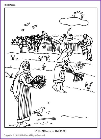 coloring (ruth gleans in the field)  kids korner  biblewise