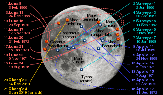 Map of landing sites on the Moon