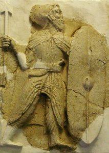Stucco relief of an infantry soldier, from the Iranian Parthian Dynasty (247 BC - 224 AD), Zahhak castle, Haštrūd, Eastern Āzarbāiğān, Iran. Āzarbāiğān Museum, Tabriz (Iran)