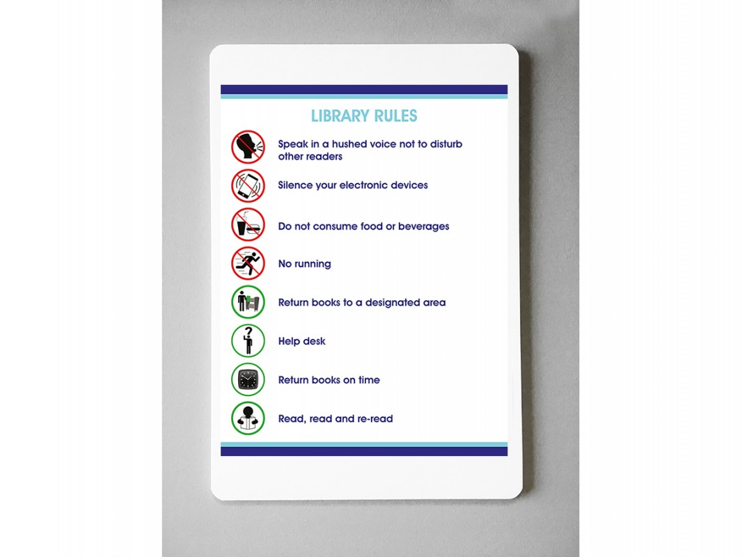 SelfAdhesive Vinyl Library Rules Sign  Biblio RPL Lte