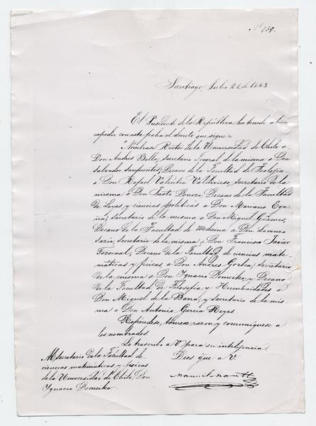[Decreto del Presidente de la República, Manuel Bulnes