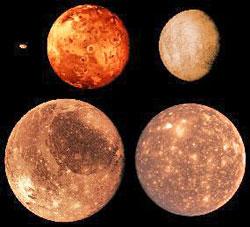 Jovian moons From upper left clockwise: Amalthea, Io, Europa, Callisto, and Ganymede.