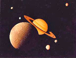Saturnian moons montage Dione is the large moon in front of Saturn, Tethys and Mimas are below Saturn to the right, and Enceladus and Rhea are to the left. Titan, actually the largest moon by far, is in the background right.
