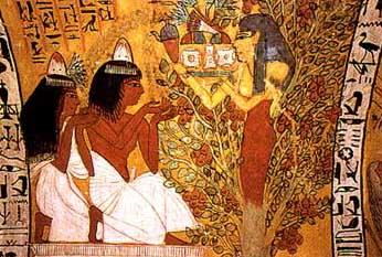 Hathor en el árbol, fresco, la tumba de Sennedjem