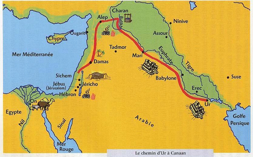 """Résultat de recherche d'images pour """"carte physique du parcours d'Abraham en partant de Ur en Chaldée"""""""