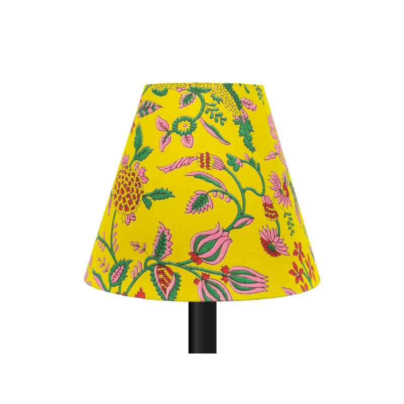 petit abat jour conique lampe jaune et fleurs