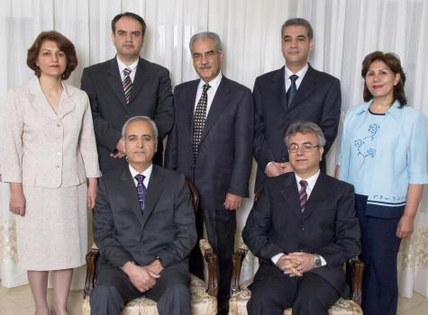 The seven imprisoned Baha'i leaders, before their arrest.