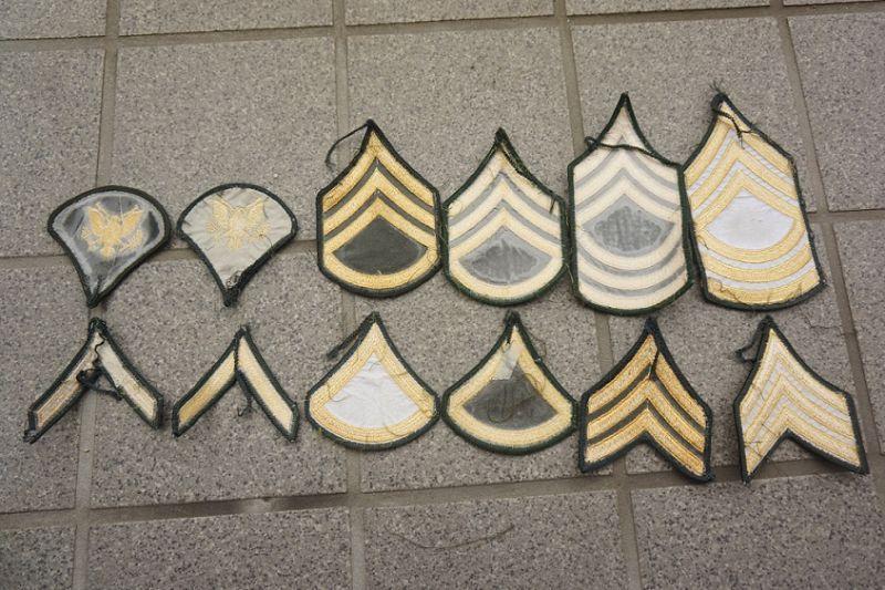 米軍 米陸軍 兵・下士官フルカラー メロウエッジ仕様 階級章2枚 ...