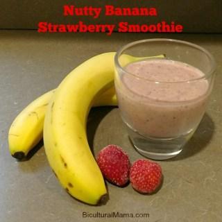 Nutty Banana Strawberry Smoothie Recipe #FamilyTime #JuicyJuiceCrew
