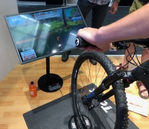 Zwift's new offroad section has a steering option. Photo: Dean Yobbi.
