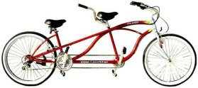 J Bikes by Micargi Island 26″ 18-Speed 2-Seater Tandem Bicycle Beach Cruiser Bike – Red
