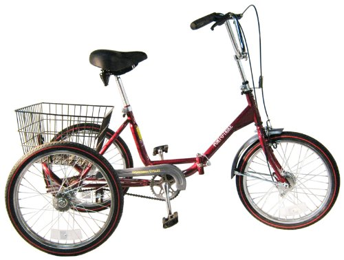 Worksman Port-o-Trike Three Speed Adult Tricycle Cranberry