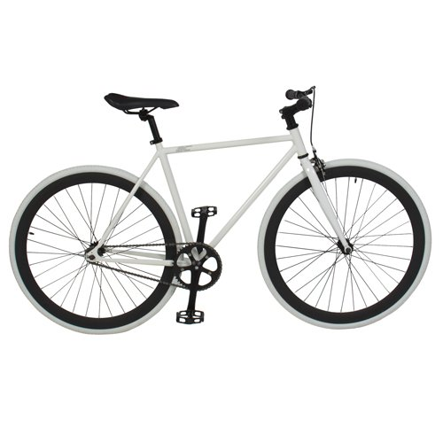 Best Choice Products® White/wht 54cm Fixie Bike Steel Frame Gear Single Speed Sport Road Track Bicycle