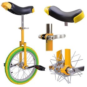 New Deluxe 16″ Inch Unicycle Uni-cycle Unicycles Wheel Cycling Chrome Yellow&Green