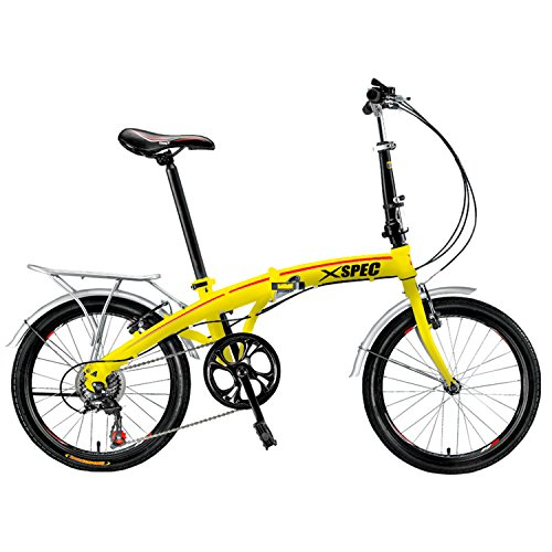 Xspec 20″ 7 Speed Folding Compact Bike Bicycle Urban Commuter Shimano Yellow New
