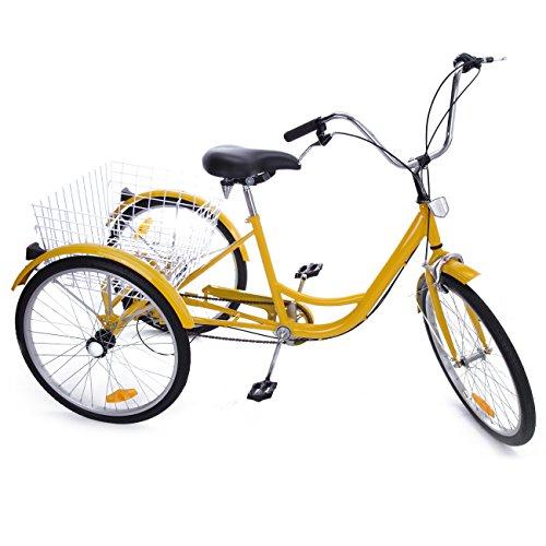 Iglobalbuy Yellow 24″ 6-Speed 3 Wheel Adult Bicycle Tricycle Trike Cruise Bike