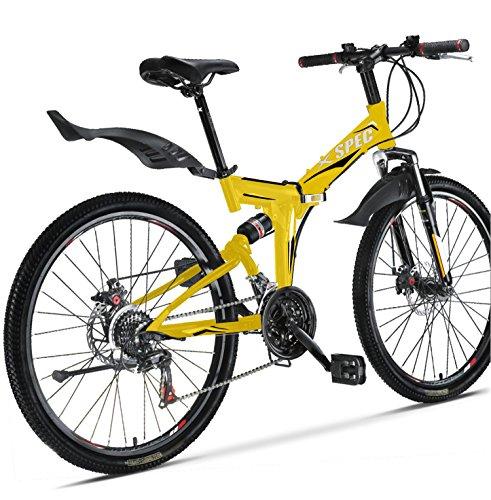 Xspec 26″ 21 Speed Folding Mountain Bike Bicycle Trail Commuter Shimano Yellow