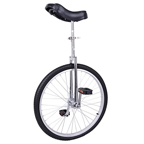 Fantasycart 24″ Unicycle Cycling in & Out Door Chrome Colored with Skidproof Tire Thanksgiving Christmas
