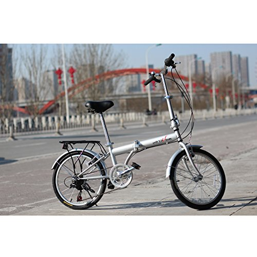 unYOUsual U transformer 20″ Folding City Bike Bicycle 6 Speed Shimano Gear Steel Frame Mudguard Rear Carrier Front rear Wheel Reflectors Silver