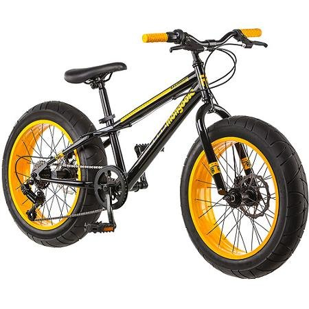 Mountain Bike Mongoose 20 Inch All Terrain Fat Tire Sleek Look Aluminum Steel Frame Front Suspension Smooth Riding Alloy Wheels Rear Derailleur 7 Speed Dual Disc Brake Twist Shifter 3 Piece Crank