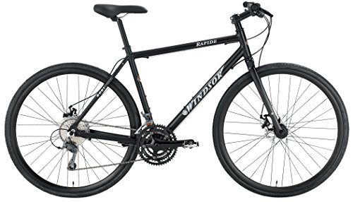 Windsor Rapide 700C Disc Shimano 24 Speed Disc Brake Carbon Fork Super Hybrid Bicycle Bike matt black 20″ frame