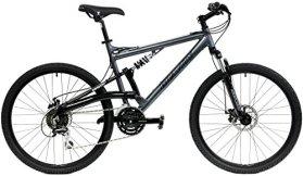 Gravity FSX 1.0 Dual Full Suspension Mountain Bike Shimano Suntour (Gray, 17in)