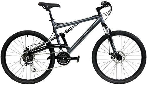 Gravity FSX 1.0 Dual Full Suspension Mountain Bike Shimano Suntour (Gray, 17in)