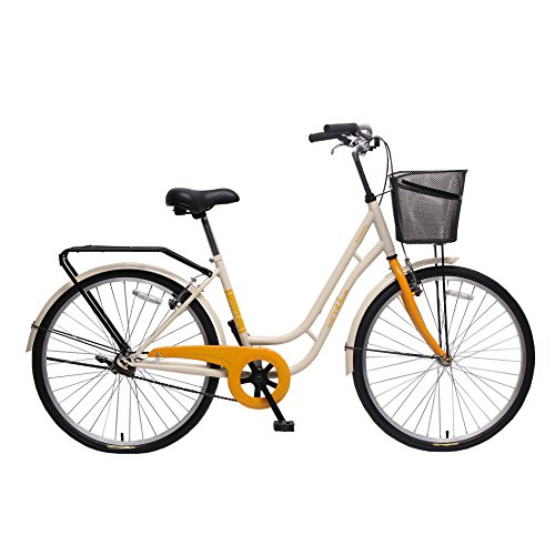 unYOUsual U classic Women's 26-Inch Single speed Beach Cruiser Bike City Urban Bicycle with Front Basket WANDA Tire