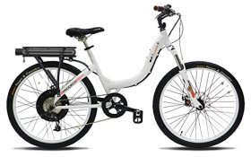 ProdecoTech Stride 500 W V5 36V500W 8 Speed Electric Bicycle 11Ah Samsung Li-Ion, Pearl White, 18″/One Size