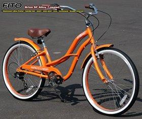 Anti-Rust / Light Weight Aluminum Alloy Frame! Fito Brisa SF Alloy SHIMANO 7-speed Women – Orange, 26″ Wheel Beach Cruiser Bike Bicycle