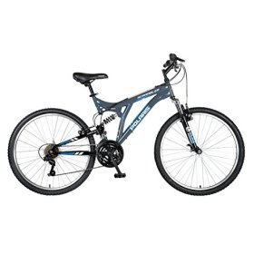Polaris Scrambler Full Suspension Mountain Bike, 26 inch Wheels, 19.5 inch Frame, Men's Bike, Grey