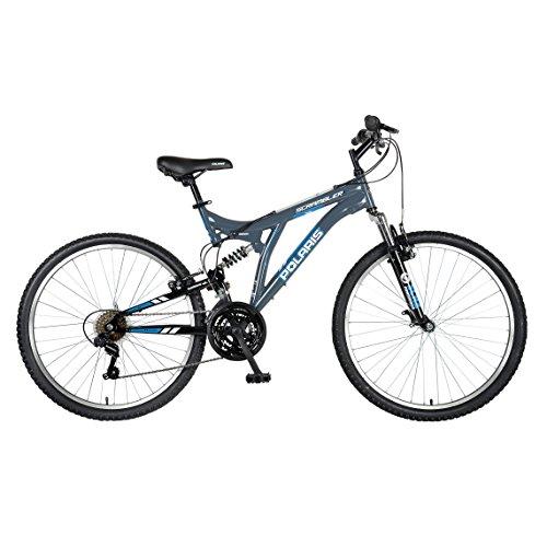 Polaris Scrambler Full Suspension Mountain Bike, 26 inch Wheels, 19.5 inch Frame, Men's Bike, Grey