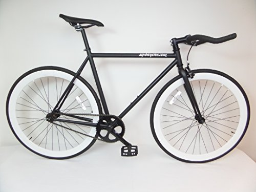 Matte Black and White Fixie with Bullhorns Single Speed Fixie Bike with Flip Flop Hub By Sgvbicycles Fixies
