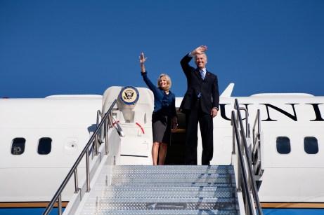 Joe Biden and Jill Biden wave Air Force 2